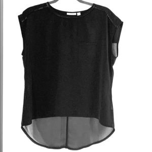 Halogen cap sleeve blouse with faux leather trim